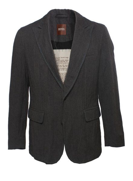 Hugo Boss Hugo Boss, donkergrijze blazer met lichtblauwe stiksels in maat 50.
