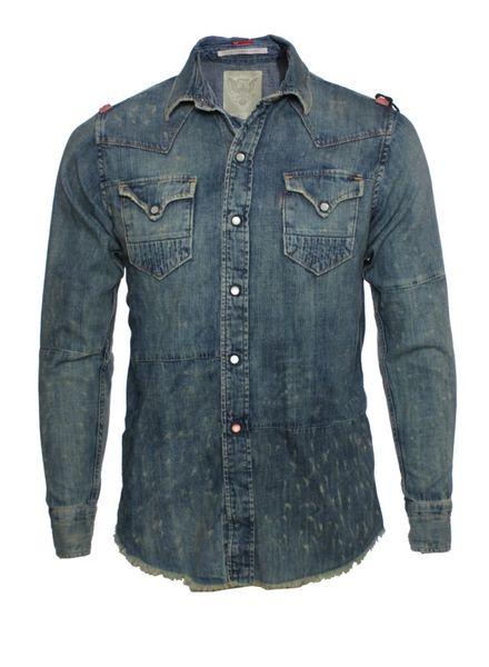 Italo Americano Italo Americano, blue denim shirt with push buttons.