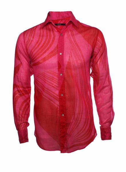 Gucci Gucci, pink semi-see-through cotton shirt.