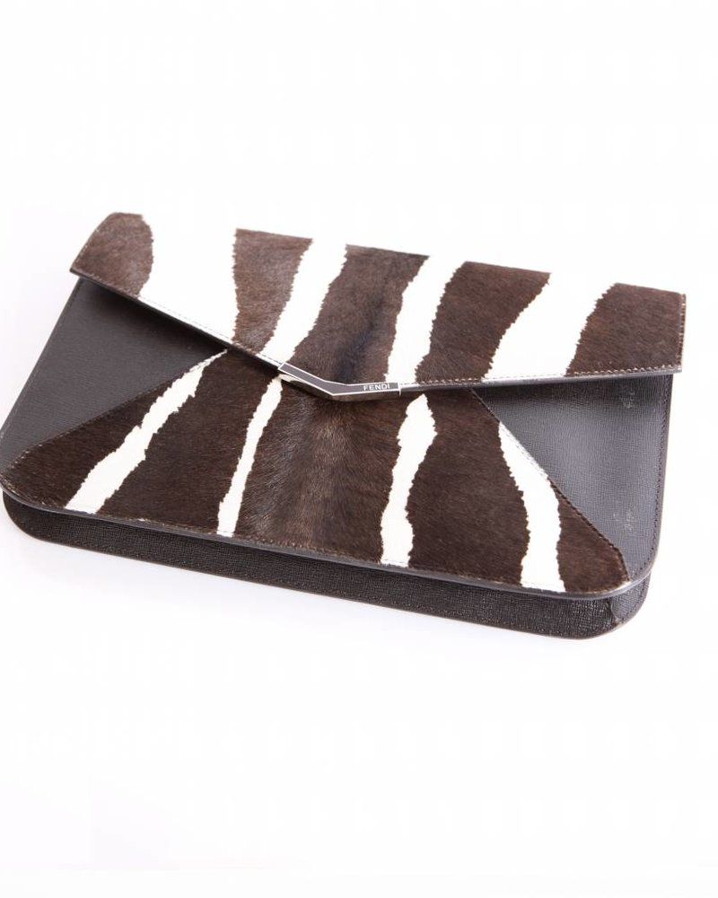 Fendi Fendi, brown/off-white leather clutch bag in animal print with golden hardware.