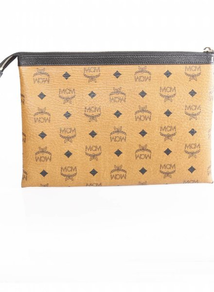 MCM MCM Heritage pouch, zwart/bruin leren tas met gouden metaal.
