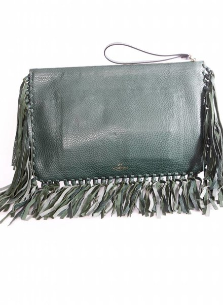 Valentino Valentino Garavani, green leather clutch bag with fringes and golden hardware.