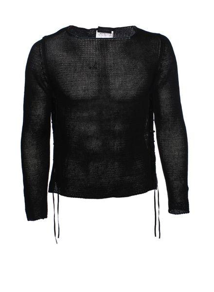 John Richmond John Richmond, Black crochet tunic with leather piping in size M.