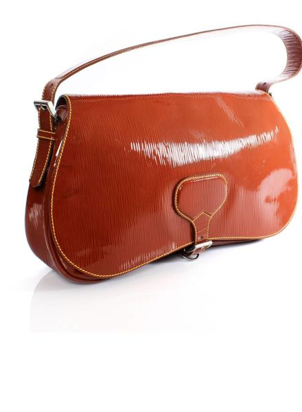 Prada Prada, rust brown leather shoulder bag with silver metal and leather lining.