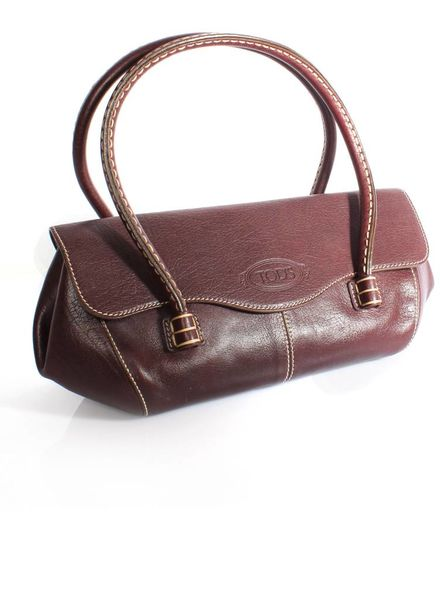 Tod's Tod's, red brown handbag with cream stitching and gold metal.