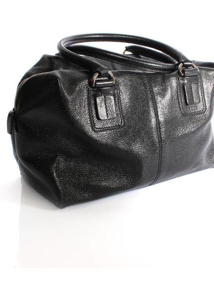 Tod's Tod's, zwart leren handtas met zilver metaal.