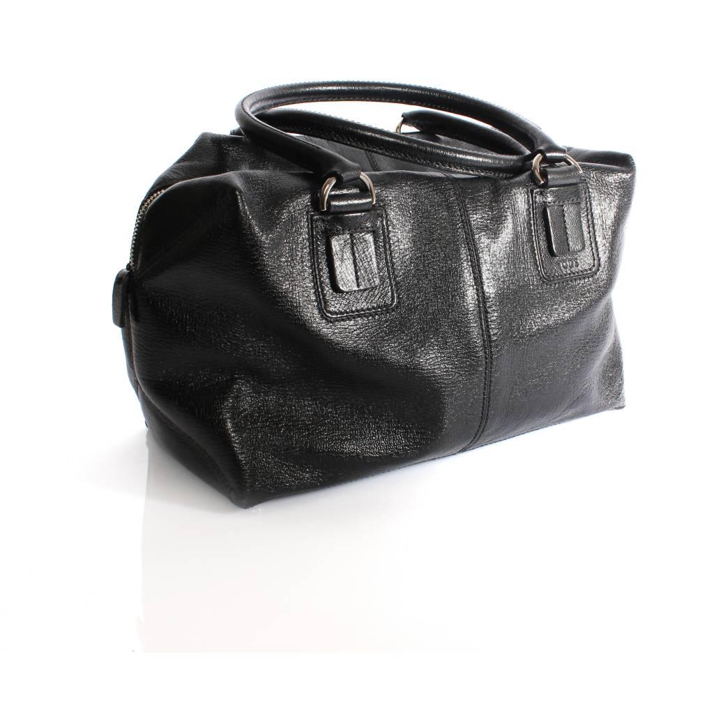 6d3d3a465c6 Tod's Tod's, black leather handbag with silver metal. - Unique ...