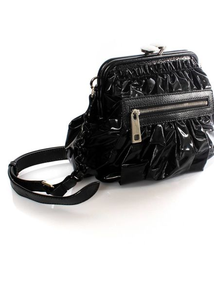 Marc Jacobs Marc Jacobs, black shiny bag trimmed with leather and silver metal clasp.