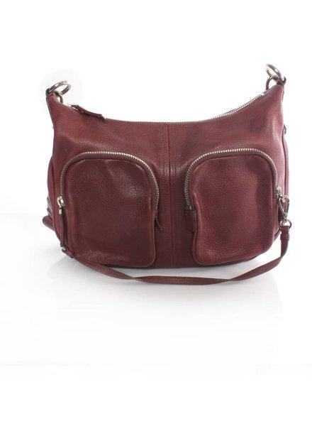 Prada Prada, cherry red leather crossover bag with silver hardware.