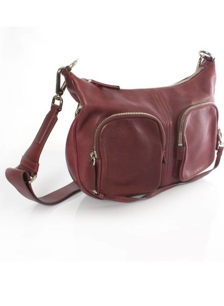 Prada Prada, cherry red leather crossover bag with silver hardware.