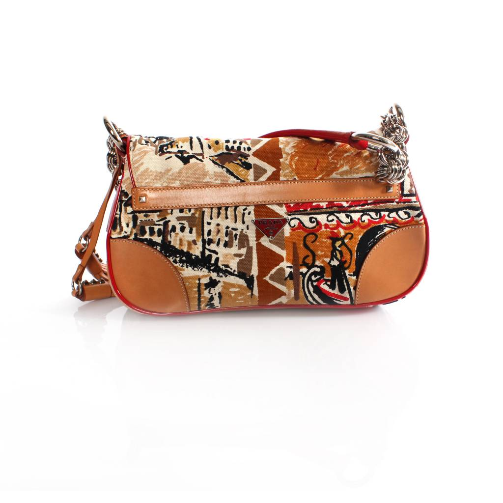 50f06657054d Prada Prada, fantasy print shoulder bag with leather/patent leather and  silver hardware.