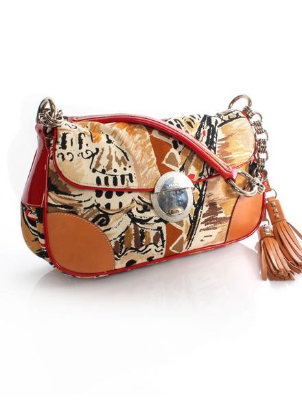 Prada Prada, fantasy print shoulder bag with leather/patent leather and silver hardware.
