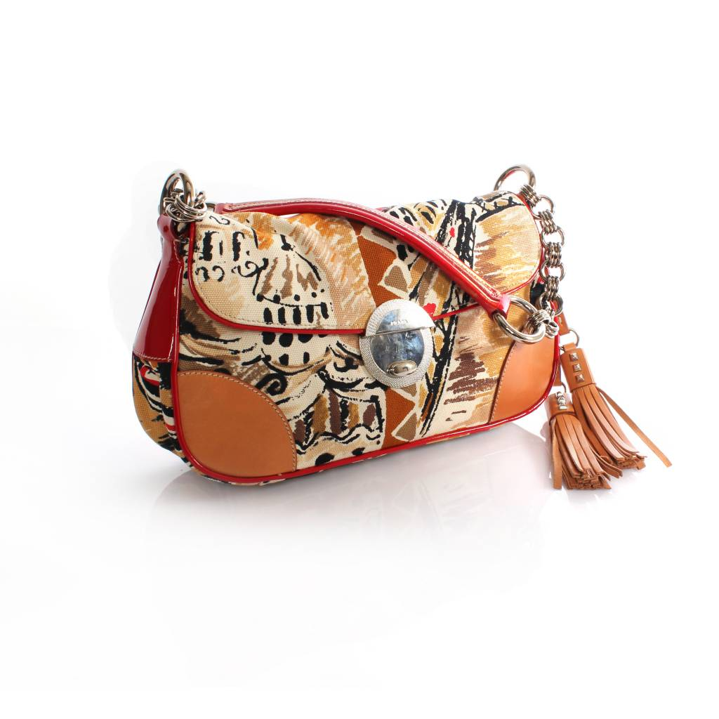 cd11d0fbc2ad Prada, fantasy print shoulder bag with leather/patent leather and silver  hardware.