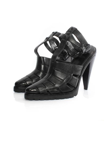 Alexander Wang Alexander Wang black leather gladiator sandal with black hardware in size 39.