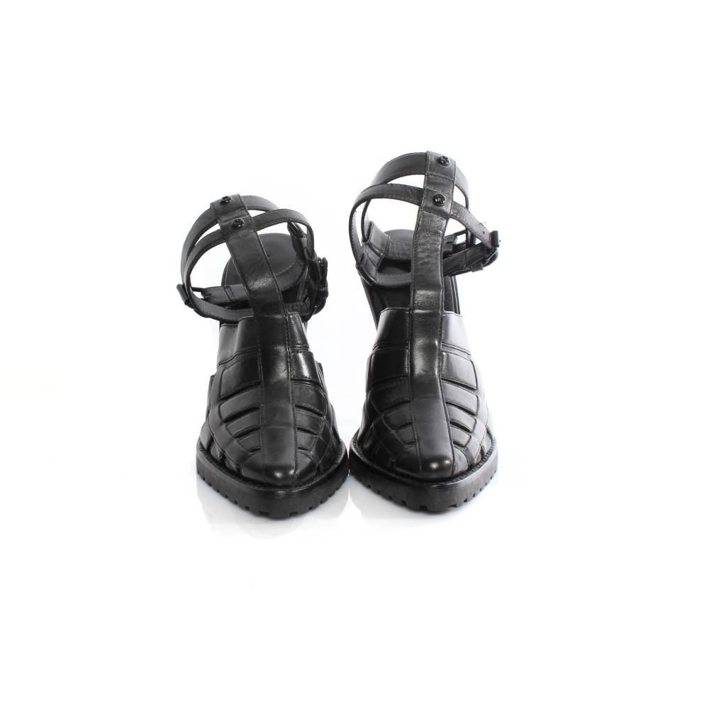 27ba2e0a1148 Alexander Wang Alexander Wang black leather gladiator sandal with black  hardware in size 39.