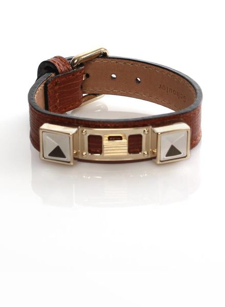 Proenza Schouler Proenza Schouler, bruin leren armband met goud metaal.
