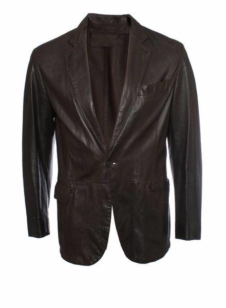 Prada Prada, brown leather colbert jacket in size 48/M