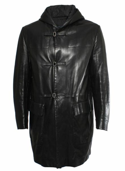 Prada Prada black leather parka jacket with hoody and Velcro closure in size 48/M.