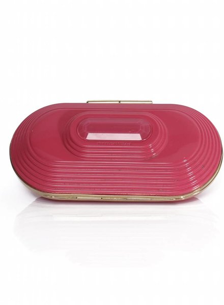 Jimmy Choo Jimmy Choo for H&M, candy pink clutch bag with gold metal.