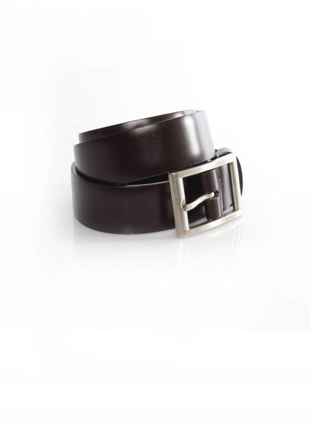 Prada Prada, dark brown leather belt with silver buckle in size 85.