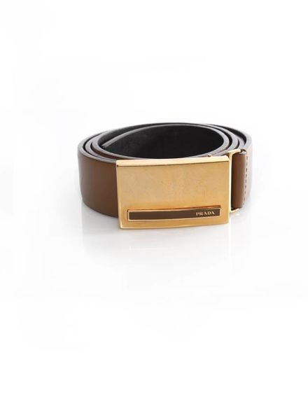 Prada Prada, camel brown leather belt with gold buckle in size 90.
