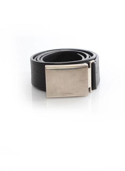 Prada Prada, black leather belt with silver buckle in size 85.