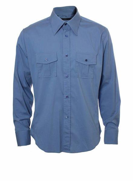 Gucci Gucci, sky blue shirt.