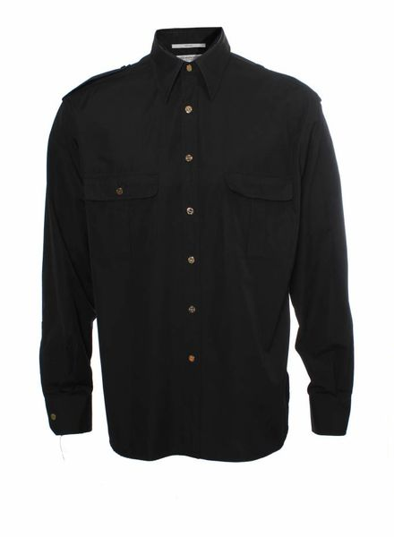 Yves Saint Laurent Yves Saint Laurent, black shirt with long sleeves and gold monogram buttens in size 42/16,5, L.