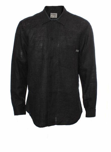 Gianfranco Ferre Studio, black long-sleeved shirt in size L.