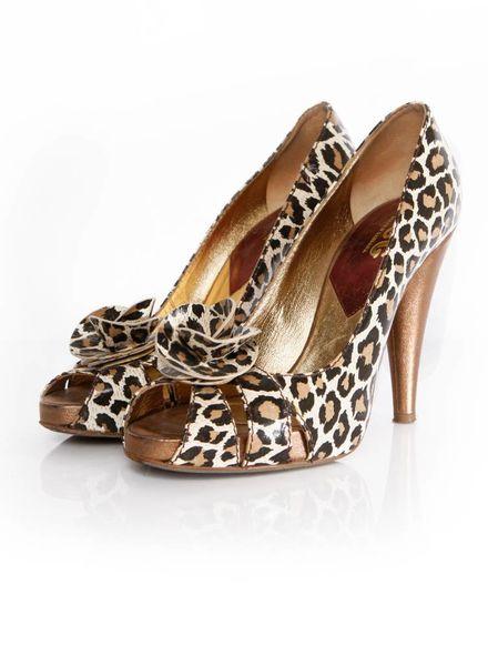 Dolce & Gabbana D&G, leopard print peep-toe pump in hoogglans leer in maat 39.