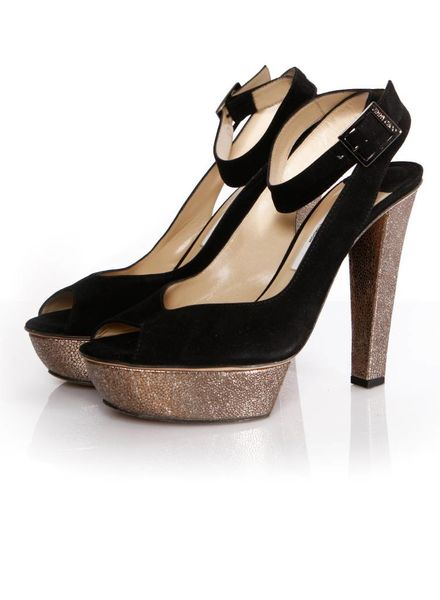 4809f60202 Jimmy Choo Jimmy Choo, black sandal with bronze leather heel and platform  in size 39.5