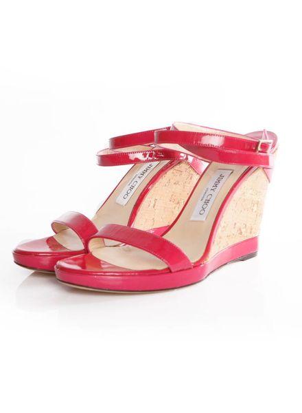 Jimmy Choo Jimmy Choo, fuchsia sandal with cork wedge in size 39.