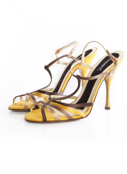 Dolce & Gabbana Dolce&Gabanna, multi-colored satin sandal with high heel in size 39.