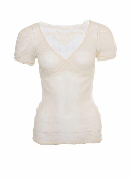 Dolce & Gabbana Dolce&Gabanna, gebroken wit transparante tuniek in maat 1.