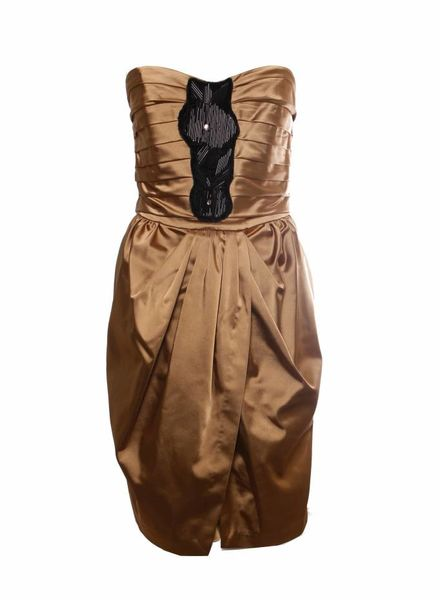 Compagnia Italiana Compagnia Italiani, bruin/goud kleurige jurk in maat 38/M met zwart ornament.