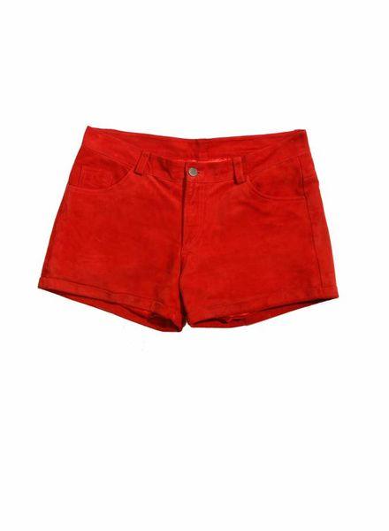 ByDanie ByDanie, rood suede shorts in maat M.