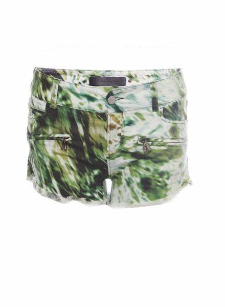 Barbara Bui Barbara Bui, groen kleurige shorts met vervaagde camouflage print in maat 26.
