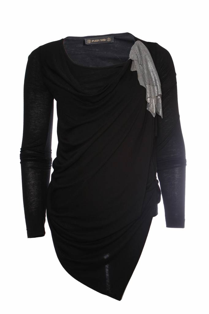 free shipping a7652 dcc33 Plein Sud Plein Sud, black asymmetrical top with silver ornament on the  left shoulder in size FR40/S.