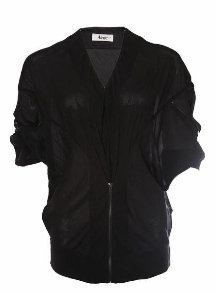 Acne Acne, zwart transparent oversized vestje in maat 34/XS met meerdere ritsen.