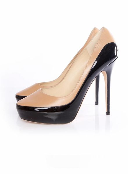 Jimmy Choo Jimmy Choo, black/camel colored platform pumps in leather and patent leather in size 40.