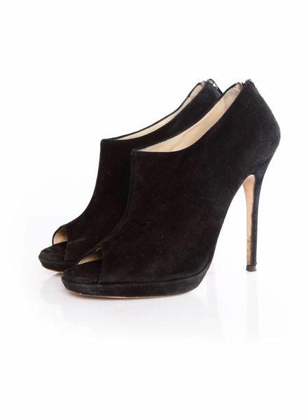Jimmy Choo Jimmy Choo, black suede peeptoe ankleboots in size 40.5.