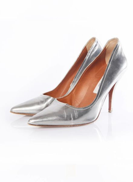Lanvin Lanvin, silver pumps in high shine leather.