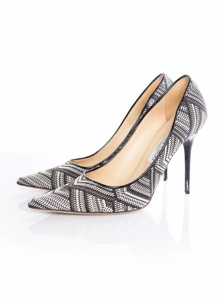 Jimmy Choo Jimmy Choo, Abel pointed woven fabric pumps in black and white with geometric print in size 40.