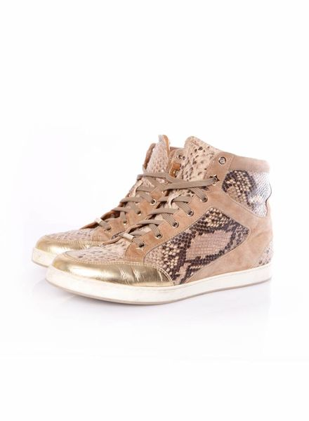 Jimmy Choo Jimmy Choo, brown colored sneakers in suede and leather python print in size 40.
