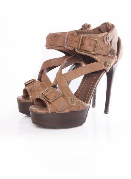 Burberry Burberry, bruin leren gladiator platform sandalen in maat 38.