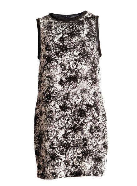 Proenza Schouler Proenza Schouler, zwart/beige-offwhite kleurige mouwloze jurk met grafische bloemenprint in maat 8/S.