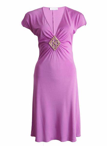 Emillio Pucci Emillio Pucci, paarse zijde jurk met zilveren gevlochten ornament in maat 38.