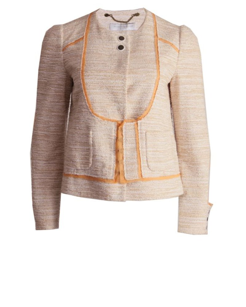 Proenza Schouler Proenza Schouler, salmon colored boucle blazer with orange piping in size 6/S.