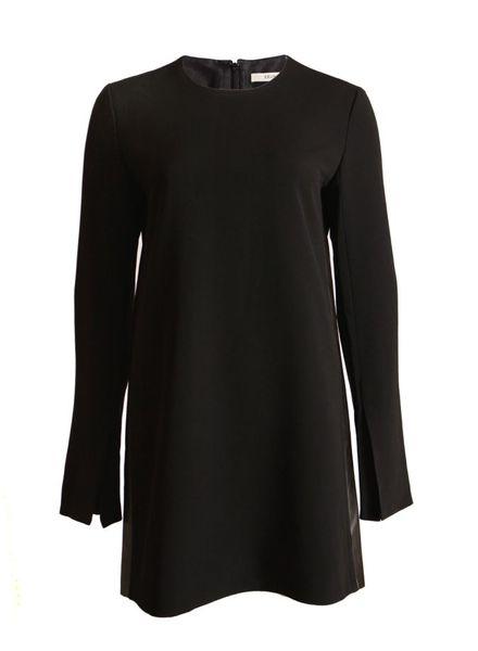 Celine Celine, black dress with leather details.