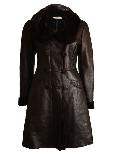 Prada Prada, brown leather coat with dyed sheep fur, mink fur collar and caiman leather buttons in size 42 IT/S.